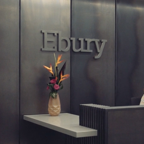 Ebury logo on the wall